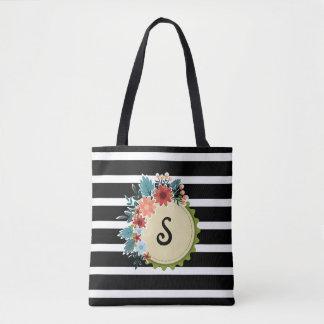 Bolsa Tote O preto listra a sacola floral do monograma