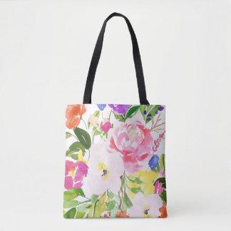 Bolsa Tote O primavera colorido da aguarela floresce floral