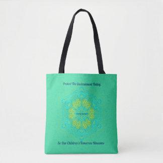 Bolsa Tote O #Resist protege a mandala verde artística do