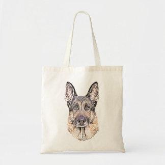 Bolsa Tote O retrato de um cão de german shepherd esboçou a