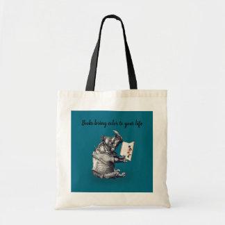 Bolsa Tote O rinoceronte da leitura ama livros