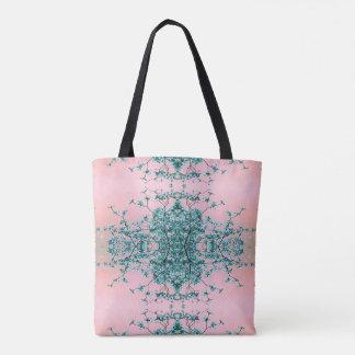 Bolsa Tote O rosa da cerceta cora as flores abstratas