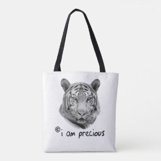 Bolsa Tote O tigre branco eu sou precioso