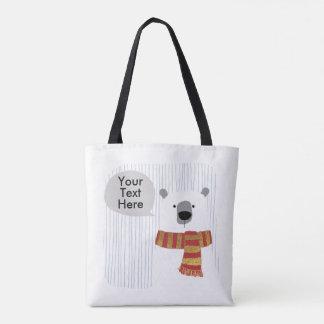 Bolsa Tote O urso do desenho da mão de Digitas, seu texto