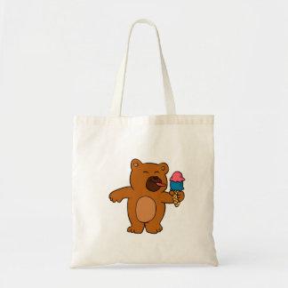 Bolsa Tote O urso dos desenhos animados come o sorvete