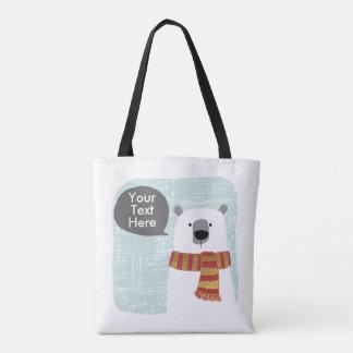 Bolsa Tote O urso polar do desenho de Digitas, seu texto aqui