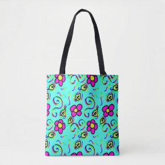 Bolsa Tote o verão feliz azul do design da flor azul e pica