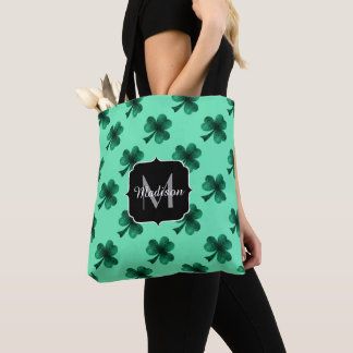 Bolsa Tote O verde esmeralda Sparkles monograma do trevo do