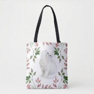 Bolsa Tote O verde persa do rosa do gatinho da aguarela deixa