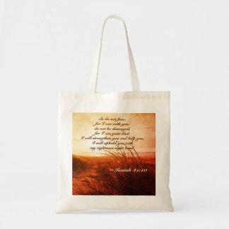 Bolsa Tote O verso da bíblia do 41:10 de Isaiah não teme que