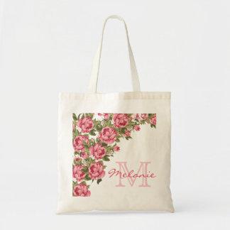 Bolsa Tote O vintage cora peônias cor-de-rosa nome dos rosas,