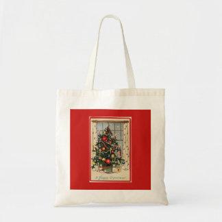 Bolsa Tote O vintage decorou o vermelho da árvore de Natal