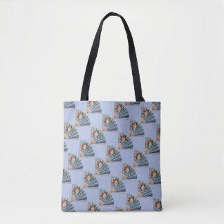 Bolsa Tote O vintage/francês azul retro ventila a sacola