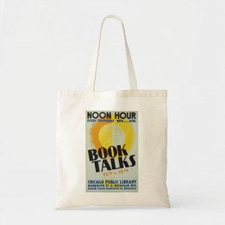 "Bolsa Tote O vintage ""livro fala"" a sacola"