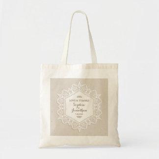 Bolsa Tote Obrigado personalizado do vintage do casamento