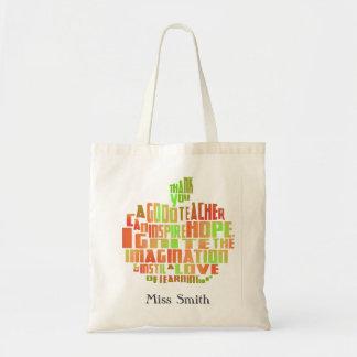 Bolsa Tote obrigado saco da maçã das citações da tipografia