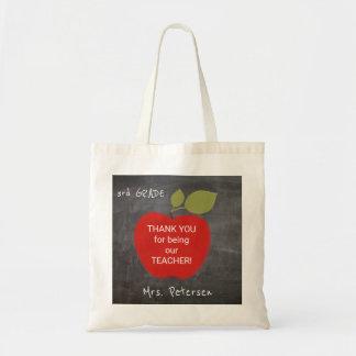 Bolsa Tote Obrigado vermelho do quadro-negro da maçã do nome