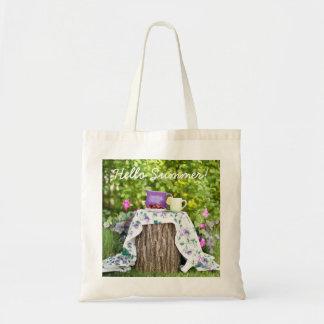 Bolsa Tote Olá! chá e ameixas do verão no jardim