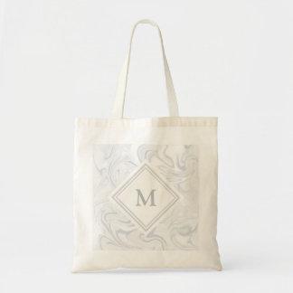 Bolsa Tote Olhar de mármore cinzento e branco com monograma