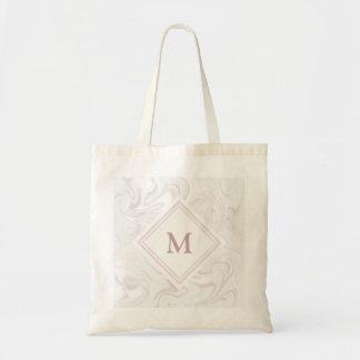 Bolsa Tote Olhar de mármore malva e branco com monograma do