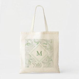 Bolsa Tote Olhar de mármore prudente e branco com monograma