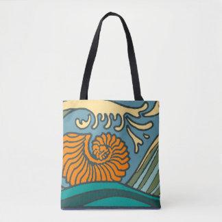 Bolsa Tote Ondas de oceano azuis coloridas
