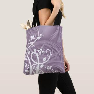 Bolsa Tote Ondas sobre trabalhos de arte roxos