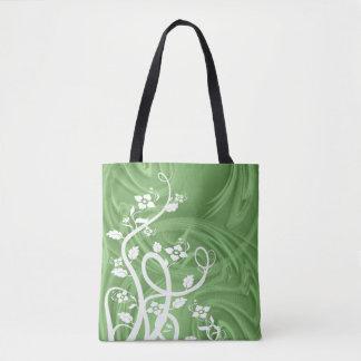 Bolsa Tote Ondas sobre trabalhos de arte verdes