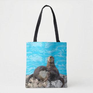 Bolsa Tote Onde o rio encontra as lontras de mar