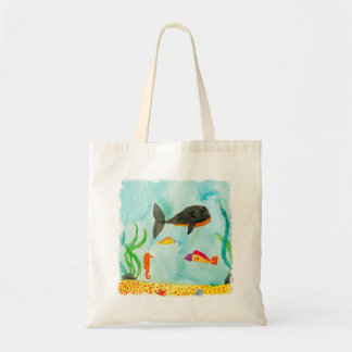 Bolsa Tote Opinião do mar da aguarela com baleia e cavalo