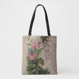 Bolsa Tote Oração floral do vintage eu seguirei Thee