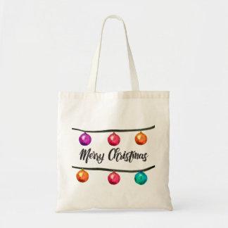 Bolsa Tote Ornamento da aguarela do roteiro do Feliz Natal