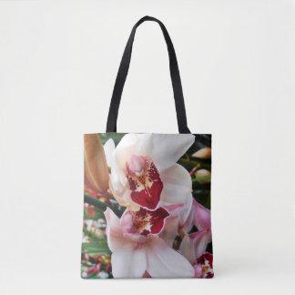 Bolsa Tote Orquídea branca e cor-de-rosa do Phalaenopsis