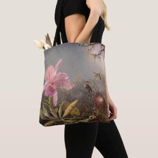 Bolsa Tote Orquídea de Cattleya e três colibris