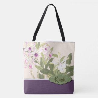 Bolsa Tote Orquídea roxa e branca personalizada