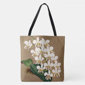 Bolsa Tote Orquídeas brancas impressão botânico, fundo de Tan