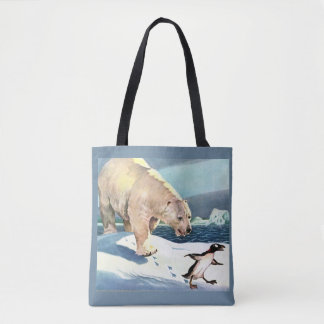 Bolsa Tote os anos 40 urso polar e pinguim