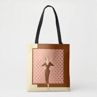 Bolsa Tote Os anos quarenta formam com rosa e ouro de Brown