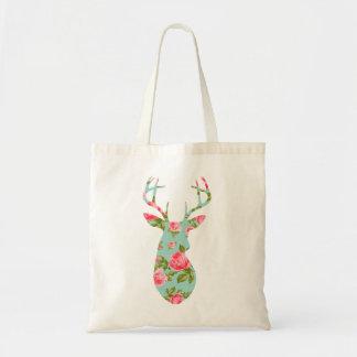 Bolsa Tote Os cervos mostram em silhueta com os rosas florais