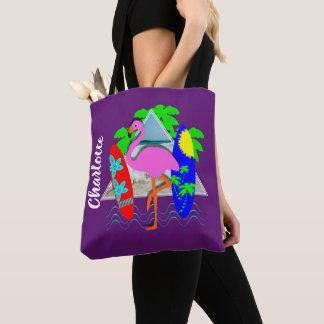 Bolsa Tote Os conselhos de surf surfando do flamingo
