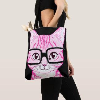 Bolsa Tote Os E.U. fizeram a sacola Nerdy cor-de-rosa da arte