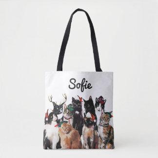 Bolsa Tote Os gatos festivos da aguarela personalizaram o