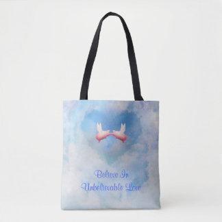 Bolsa Tote Os porcos do vôo Beijar-Acreditam no amor
