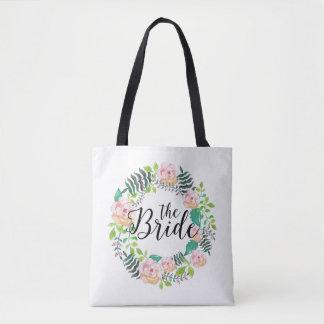 Bolsa Tote Os rosas Texto-Cor-de-rosa da noiva & a grinalda