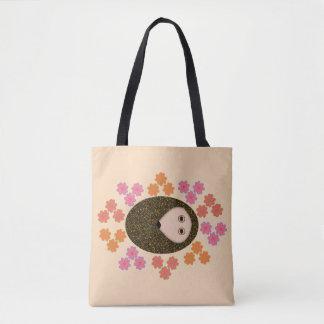 Bolsa Tote Ouriço sonolento e sacola das flores
