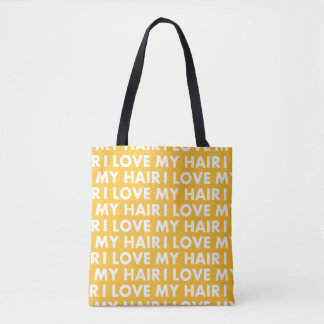 Bolsa Tote Ouro amarelo eu amo meu entalhe do cabelo