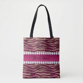 Bolsa Tote Ouro cor-de-rosa das listras da zebra da folha do