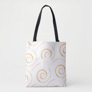 Bolsa Tote (Ouro do falso) sacola espiral do monograma  