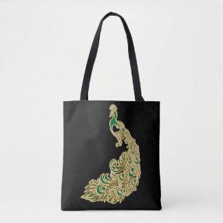Bolsa Tote Ouro e pavão verde que cintilam brilhantemente