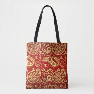 Bolsa Tote Ouro e teste padrão vermelho de Paisley